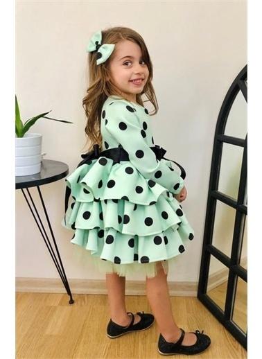 Riccotarz Kız Çocuk Puantiyeli Uzun Kol Yeşil Katkat Elbise Renkli